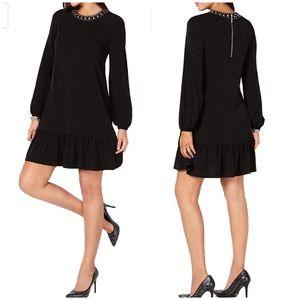 Michael Kors Womens Studded Flounce Cocktail Dress